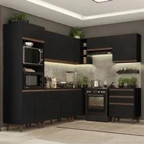 Cozinha Completa de Canto Madesa Reims 462002 com Armário e Balcão Preto Cor:Preto