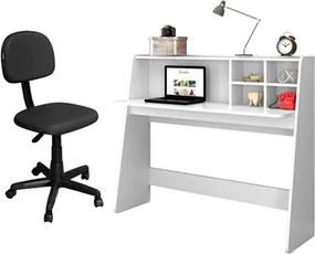Mesa para Computador Escrivaninha Idealle Branco e Cadeira Giratória CS-02 Preta - Mpozenato
