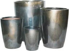 Conjunto Vasos Cerâmica Vietnamita Prata 4 peças
