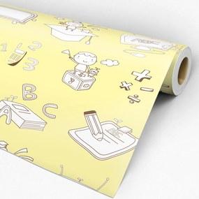 Papel de parede adesivo infantil amarelo e branco