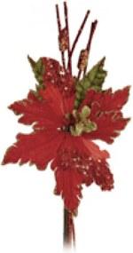 Flor Natalina Artificial Vermelha de Glitter Cabo Médio 40cm