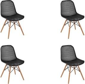 Kit 4 Cadeiras Decorativas Sala e Cozinha Haney (PP) Preta- Gran Belo
