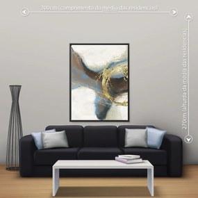 Quadro Abstrato Marrom - Grande 140cm x 105cm, Tela + Moldura Preta