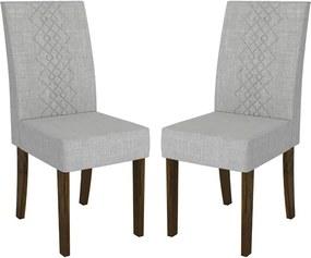 Kit 2 Cadeiras Vach Estofada Linho Claro / Rústico Malbec