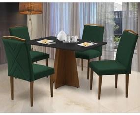 Conjunto Mesa Leticia 1,20 m Preto + 4 Cadeiras Keli Aveludado Verde