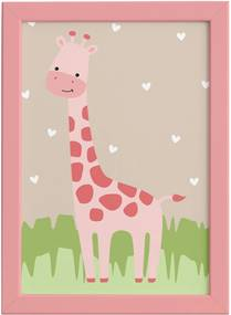 Quadro Safari Menina Girafa Moldura Rosa 22x32cm