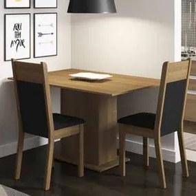 Conjunto Sala de Jantar Madesa Gabi Mesa Tampo de Madeira com 2 Cadeiras Rustic/Preto/Sintético Preto Cor:Rustic/Preto/Sintético Preto
