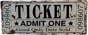 Placa Decorativa Ticket de Bilheteria Branco/Preto em Metal - 60x24 cm