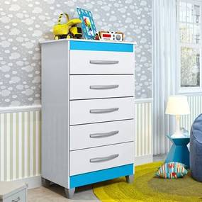 Cômoda Infantil Esmeralda com 5 Gavetas - Branco/Azul