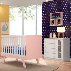 Quarto de Bebê Cômoda e Berço Ametista Branco/Rosa - PN Baby