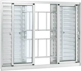 Janela de Alumínio de Correr Veneziana Alumifort Branca com Grade Classic 6 Folhas 100x150x8,7 - Sasazaki - Sasazaki