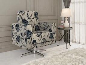 Poltrona Giratória 1 lugar Bruna - Floral azul