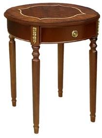 Mesa Lateral George I Oval com Gaveta Madeira Maciça Marchetaria Design Clássico
