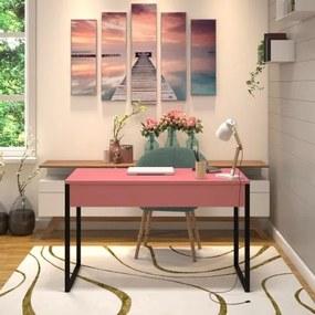 Mesa em Metal com tampo de Aço Colorido | Tam: 120x60 |Cor: Rosa e Preto