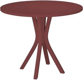 Mesa de Jantar Felice com Tampo Redondo Vermelho Bordô em MDF Laqueado
