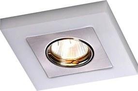 Embutido Quadrado Una Square Branco Leitoso e Escovado para Dicroica - Bella Itália - EM701B/E