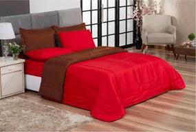 Jogo de Cama Primor Queen Kit 6 Pçs Vermelho e Marrom Casa Dona