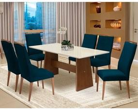Conjunto Mesa Lorena 1,80 m Off White + 6 Cadeiras Lívia Veludo Azul Marinho