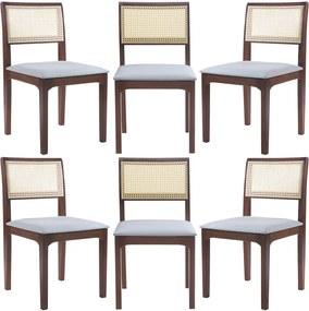 Kit 6 Cadeiras Decorativa Sala de Jantar Nivea Amêndoa - Gran Belo