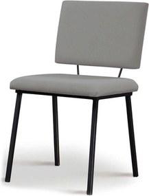 Cadeira Antonella Aço Preto Assento/Encosto Estofado Linho Cinza Daf