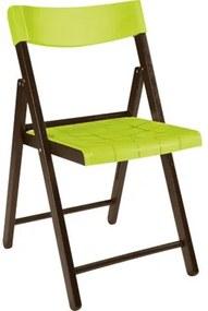 Cadeira Dobrável de Madeira Tabaco e Plástico Verde