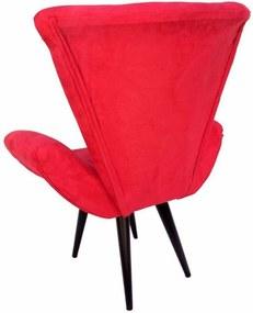 Poltrona Decorativa Emília Pés Tabaco Suede Vermelho - DS Móveis