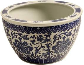 Cachepot Decorativo de Porcelana Azul e Branco Earl