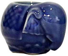 Castiçal Decorativo em Porcelana Elefante Azul