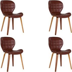 Kit 4 Cadeiras Decorativas de Escritório Recepção  GranClass (PU) Marrom - Gran Belo