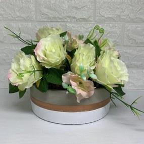 Vaso grande de cimento branco com listra rose gold e rosas