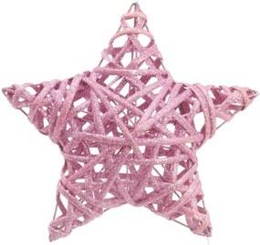 Estrela Decoração Natal 20x20Cm Com 1 Unidade Na Cor Rosa