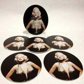 Conjunto com 6 Porta Copos Redondos Marilyn Monroe Color