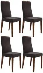 Kit 4 Cadeiras para Sala de Jantar Luciana D08 Suede Marrom - Mpozenat
