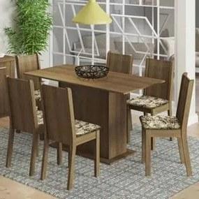 Conjunto Sala de Jantar Madesa Celeny Mesa Tampo de Madeira com 6 Cadeiras Rustic/Lírio Bege Cor:Rustic/Floral Lírio Bege