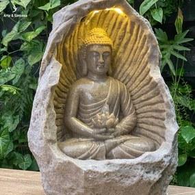 Fonte Luminosa Buda na Gruta 56cm