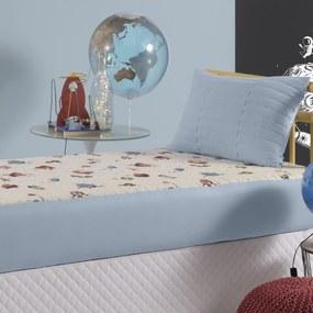 Colcha Com Elástico Slip Infantil Altenburg Malha In Cotton 100% AlgodÁo Planetas - Azul AZUL