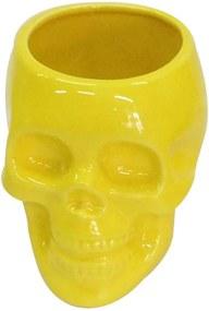 Pote sem Tampa Skull Amarelo Brilhante Médio em Cerâmica - Urban