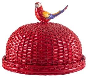 Boleira em Vime C/ Pássaro - Vermelho