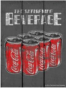 Placa Coca-Cola Six Packs Cans Cinza em Madeira - Urban - 50x36,6 cm