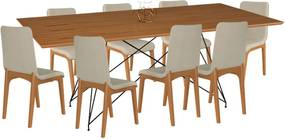 Conjunto Sala de Jantar 8 Cadeiras Mesa 200cm Carvalho/Champagne Lins Linho Bege - Gran Belo