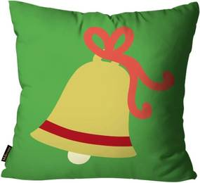 Capa para Almofada Mdecore Natal Sino de Natal Verde 45x45cm