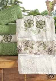 Jogo de Banho Bia Enxovais Bordado Floral Algodão 5 Peças - Verde / Palha