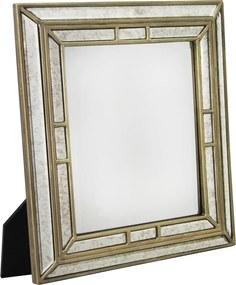 Espelho Veneziano em Madeira Quadrado de Mesa Com Suporte - 44x38,5cm