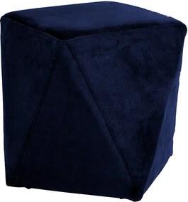 Puff Decorativo Sala de Estar Blois Veludo Azul Marinho - Gran Belo