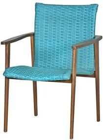 Cadeira Pierre Assento Revestido Fibra cor Piscina com Base Madeira Cumaru - 44717 Sun House