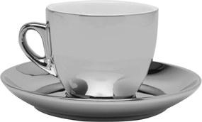 Conjunto de 6 Xícaras de Porcelana Wolff Para Chá Com Pires Branco e Prata Versa 220ml