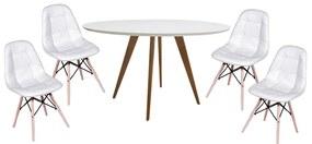 Conjunto Mesa Square Redonda Branco Fosco 88cm + 4 Cadeiras Eiffel Botonê Branco