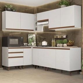 Cozinha Completa de Canto Madesa Reims 392002 com Armário e Balcão Branco Cor:Branco