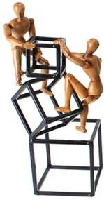 Escultura Udecor Homens Madeira Marrom