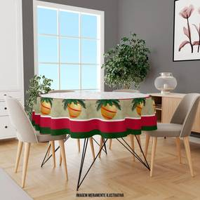 Toalha de Mesa Redonda Para 4 Lugares Bola de Natal com Abstrato 1.45m Único